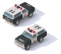 Vector isometric police SUV - stock illustration