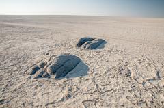 Granite extrusions inside Makgadikgadi Salt Pan. Stock Photos