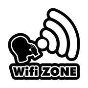 Wi-Fi Zone  black and white sticker - stock illustration