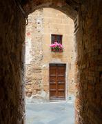 Glimpse of the town of Pienza in Tuscany - stock photo