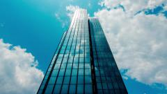 4K 30p office building,skyscraper,sun rays and dramatic clouds reflections,glass Stock Footage