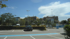Private Blue Car Park Stock Footage