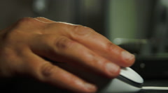 Editor's Hand On Mouse With Rack Focus On Sound Mixer, Editing Group, Media, Pan Stock Footage