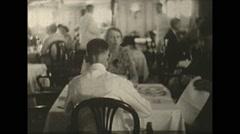 Vintage 16mm film, Columbia 1938, dinner on luxury ship Stock Footage