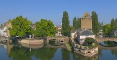 Panorama from the Barrage Vauban, Strasbourg, France Stock Footage