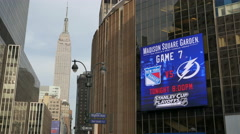 Madison Square Garden. Rangers Hockey Billboard  Playoffs 2015 Stock Footage