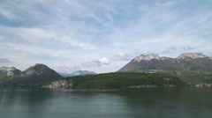 4k annecy lake alps france water boats holiday Stock Footage