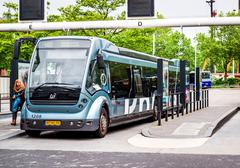 Bus rapid transit (Phileas) in Eindhoven Central Station - stock photo