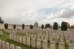 Cemetery fallen soldiers in World War I Flanders Belgium Stock Photos