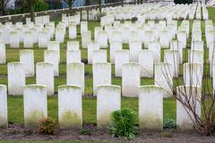 Cemetery fallen soldiers in World War I Flanders Belgium Stock Photos
