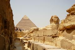 The Sphinx and Pyramids in Egypt, tourist view. - stock photo