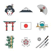 colored outline various japan icons set. - stock illustration