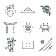 dark color outline various japan icons set. - stock illustration