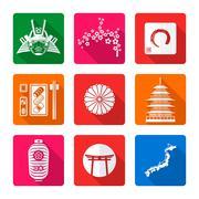 white solid flat style japanese icons set. - stock illustration