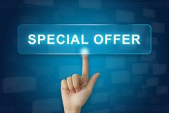 Hand press on special offer button on touch screen Stock Photos