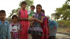 Village girls in India, medium shot, shallow DOF - stock footage