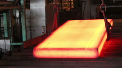 Stock Video Footage of Hot slab rejected out of table.