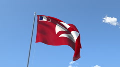 The flag of Wallis and Futuna Waving on the Wind. Stock Footage