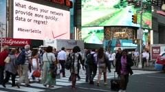 Pedestrian and Vehicles move along Broadway in Times Square in New York City. - stock footage