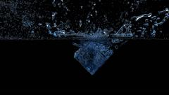 Ice cube falling into the water, 3D animation - stock footage