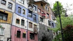 Hundertwasserhaus Hundertwasser House in Vienna Stock Footage