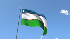 Stock Video Footage of The flag of Uzbekistan Waving on the Wind.