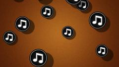 Flying note icons. Looping. Alpha channel is included. Stock Footage