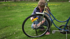 Filling  a bicycle tire with air Stock Footage