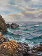 Oil painting of a seascape Stock Illustration