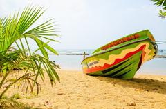 Untouched tropical beach with palms, Asia - stock photo
