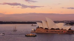 Opera House Sydney Harbour Australia Sunset Stock Footage