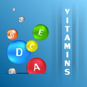 Colorful capsules with vitamins Stock Illustration