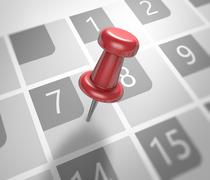 Calendar and pushpin - stock illustration