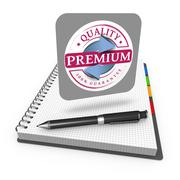 Premium quality guaranteed label - stock illustration