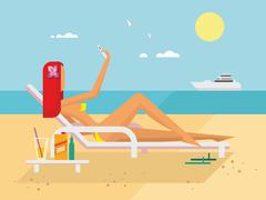 Sunbathing Girl on the Beach Doing Selfie Stock Illustration