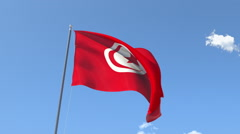 The flag of Tunisia Waving on the Wind. - stock footage