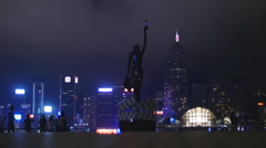 Hong Kong film awards statue in the city 4K Stock Footage