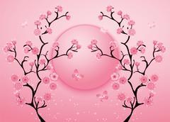 Cherry blossom motif template vector. Illustration Stock Illustration