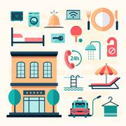 set of flat hotel icons - stock illustration