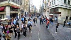 Historic red train on duty in Taksim Istiklal street Stock Footage