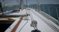 LIFTING yacht nose on top of the camera Stock Footage