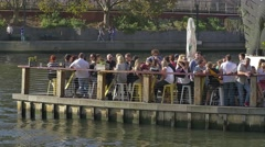 Melbourne Southbank Footbridge restaurant Stock Footage