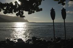 Sunset Over Hanalei Bay, Kauai, Hawaii Stock Photos