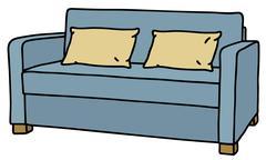 Blue sofa - stock illustration