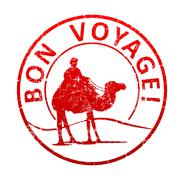 Bon voyage - rubber stamp with the silhouette of a camel in the desert, and t Stock Illustration