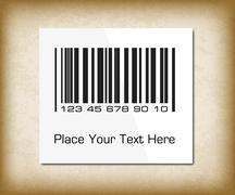 Bar code label on a dark packing paper. Vector illustration for your design. Stock Illustration