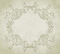 Old frame on grunge style background with blank space for text. Retro vintage - stock illustration