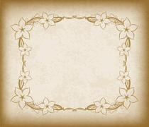 Old frame with flowers on aged paper with dark edges and a blank space for te Stock Illustration