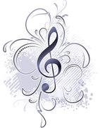 Abstract musical background in grunge style with a treble clef and decorative Stock Illustration