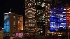 Sydney City Building Skyline Night Timelapse establishing shot Vivid Festival Stock Footage